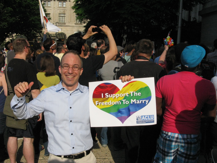 Officiant Bob Pileggi at a celebration of the first day same-sex couples can get marriage licenses in Pennsylvania, May 20, 2014. City Hall, Philadelphia, PA.
